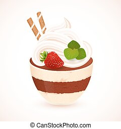 Tiramisu creamy dessert in cup, vector illustration