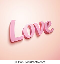 Pink realistic plastic vector Love sign - Realistic pastel...