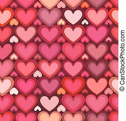 Red mottled hearts vector seamless pattern - Red mottled...