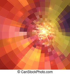 Abstract orange shining circle tunnel background - Abstract...