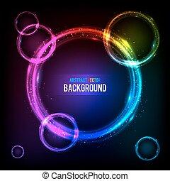 Shining circles cosmic vector background - Shining rainbow...