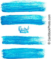 Bright blue acrylic brush strokes, vector elements for your...