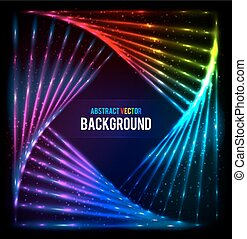 Shining lights rainbow colors vector frame - Shining lights...