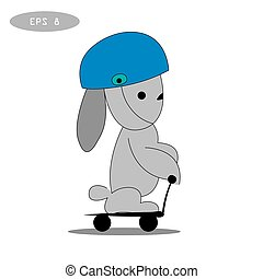 rabbit playing scooter vector