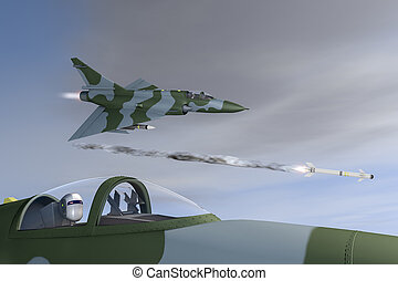 Jet fighter and robots - 3d rendering