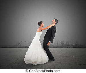 Bad marriage - Fury and angry wife strangles frightened...