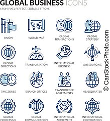 Line Global Business Icons - Simple Set of Global Business...