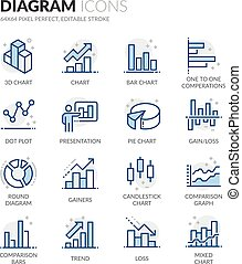 Line Diagram Icons - Simple Set of Graph and Diagram Related...