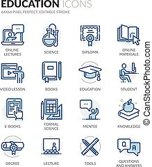 Line Education Icons - Simple Set of Education Related Color...