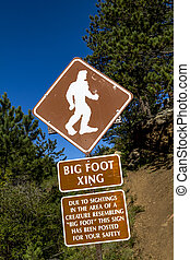 Big Foot Crossing Sign - Big foot crossing sign with warning...