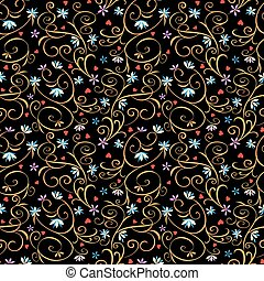 Rococo seamless pattern - Floral vintage sofisticated...