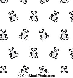 Panda bear pattern. Seamless vector illustration. Flat...