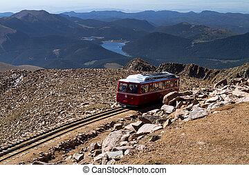 Pikes Peak Cog Railway car leaving the top of Pikes Peak...