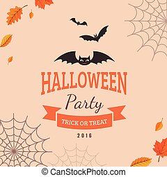 Bat and text block - Halloween party background design Eps...