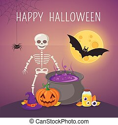 Skeleton and potion cauldron. - Halloween party background...