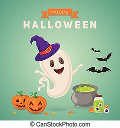 Cute ghost making potion. - Halloween party background...