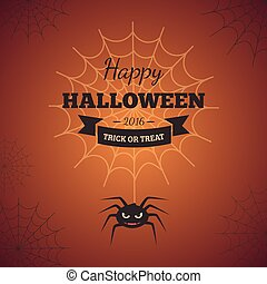 Spider web and text block - Halloween party background...