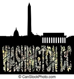 Washington DC dollar text with skyline illustration