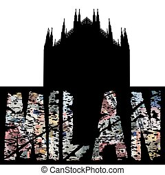 Milan euro grunge text with Duomo illustration