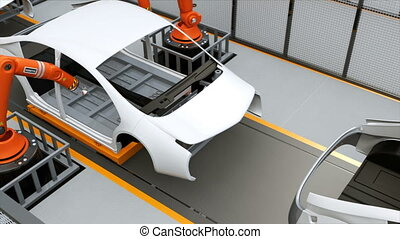 EV body assembly line - Electric vehicles body assembly...