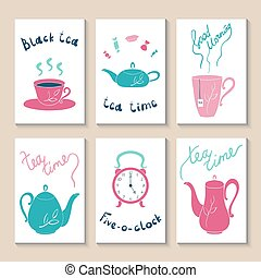 Printable templates set - Cute doodle with cups, teapots,...