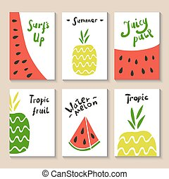 Printable templates set - Cute doodle with watermelon and...