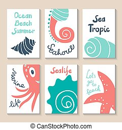 Printable templates set - Cute doodle with shells, octopus,...