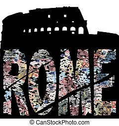 Rome euro grunge text with Colloseum illustration
