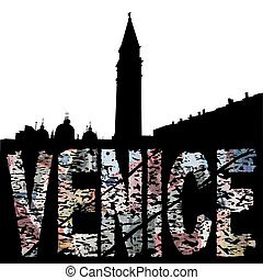 Venice euro grunge text with skyline illustration