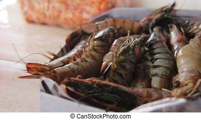 Lobsters and Marine Products on Fish Market - Fish market....