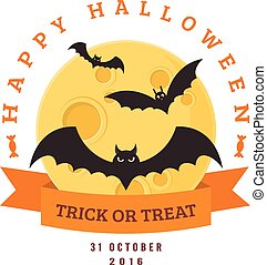 Bats and full moon. - Halloween party badge design. Eps 10...