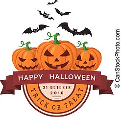 Pumpkins and bats. - Halloween party badge design. Eps 10...