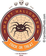 Spider and web. - Halloween party badge design. Eps 10...