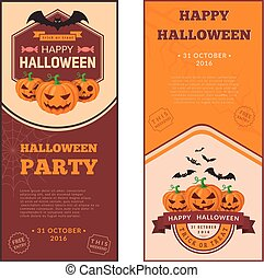 Pumpkins group and text. - Halloween party banners design....
