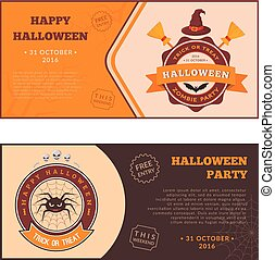 Witch symbols and text. - Halloween party banners design....