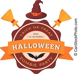 Witch hat and besom. - Halloween party badge design. Eps 10...