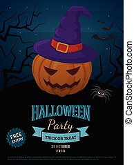 Spooky pumpkin in witch hat. - Halloween party background...