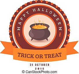 Potion cauldron and text. - Halloween party badge design....