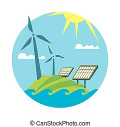 Clean resources. Sun and wind energy generation
