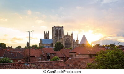 York minster,UK. - York minster time lapse.