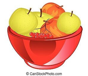 Red apple chalice - Big chalice with fruit apple on white...