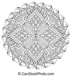 Decorative Mandala ornament, exquisite outline floral design...