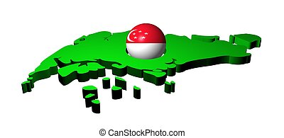 Singapore flag sphere with map illustration
