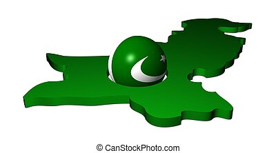 Pakistani flag sphere with map