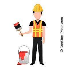 painter worker man icon