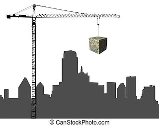 Dallas skyline with crane and dollar cube