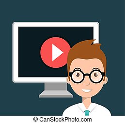 student elearning education icon vector illustration design