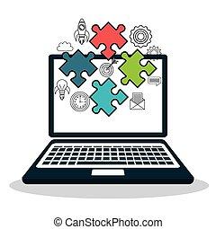laptop computer puzzle pieces
