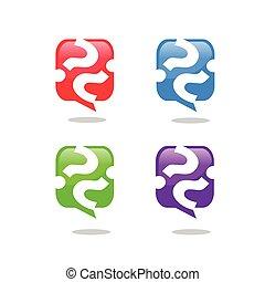Question mark icon. speech bubble symbol. FAQ sign logo....