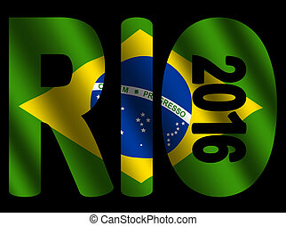 Rio 2016 text with flag - Rio 2016 text with rippled...